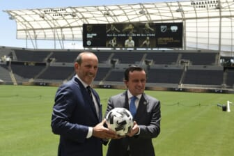 Jun 9, 2021; Los Angeles, CA, USA; MLS Commissioner Don Garber (left) and LIGA MX Executive President Mikel Arriola pose for a photo after announcing the location of the 2021 MLS All-Star Game to be held at Banc of California Stadium. Mandatory Credit: Kelvin Kuo-USA TODAY Sports