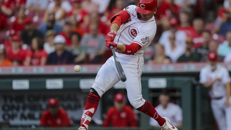 Jun 9, 2021; Cincinnati, Ohio, USA; Cincinnati Reds first baseman Joey Votto (19) hits against the Milwaukee Brewers in the first inning at Great American Ball Park. Mandatory Credit: Katie Stratman-USA TODAY Sports