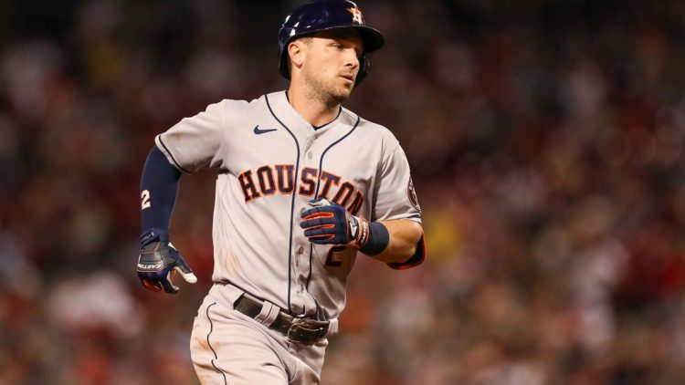 Jun 9, 2021; Boston, Massachusetts, USA; Houston Astros third baseman Alex Bregman (2) reacts after hitting a home run during the eighth inning against the Boston Red Sox at Fenway Park. Mandatory Credit: Paul Rutherford-USA TODAY Sports