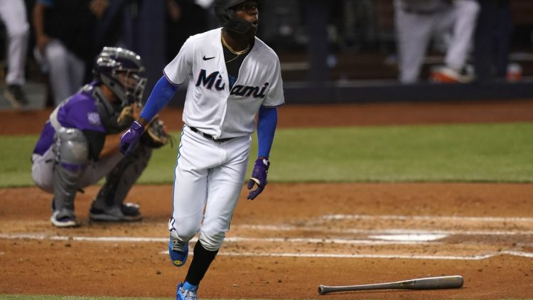 Jun 10, 2021; Miami, Florida, USA; Miami Marlins shortstop Jazz Chisholm Jr. (2) rounds the bases after hitting a three-run homerun in the 2nd inning against the Colorado Rockies at loanDepot park. Mandatory Credit: Jasen Vinlove-USA TODAY Sports
