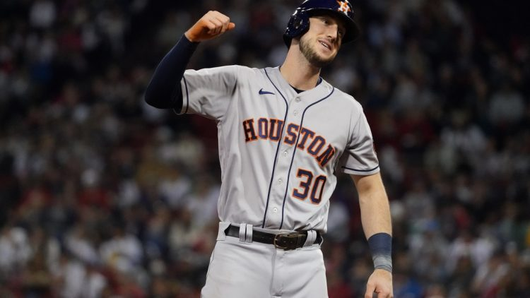 Jun 10, 2021; Boston, Massachusetts, USA; Houston Astros left fielder Kyle Tucker (30) reacts after his three RBI hit against the Boston Red Sox in the fifth inning at Fenway Park. Mandatory Credit: David Butler II-USA TODAY Sports