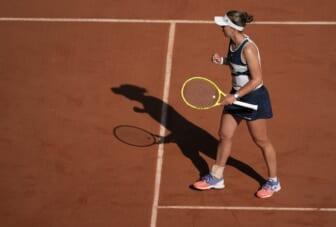 Jun 10, 2021; Paris, France; Barbora Krejcikova (CZE) reacts during her semifinal match against Maria Sakkari (GRE) on day 12 of the French Open at Stade Roland Garros. Mandatory Credit: Susan Mullane-USA TODAY Sports