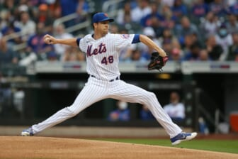 Jun 11, 2021; New York City, New York, USA; New York Mets starting pitcher Jacob deGrom (48) throws a pitch against the San Diego Padres during the first inning at Citi Field. Mandatory Credit: Brad Penner-USA TODAY Sports