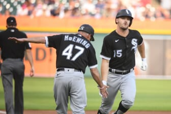 Jun 11, 2021; Detroit, Michigan, USA; Chicago White Sox center fielder Adam Engel (15) celebrates his home run with third base coach Joe McEwing (47) during the second inning against the Detroit Tigers at Comerica Park. Mandatory Credit: Tim Fuller-USA TODAY Sports