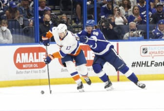 Jun 13, 2021; Tampa, Florida, USA; New York Islanders left wing Matt Martin (17) skates with the puck as Tampa Bay Lightning defenseman Mikhail Sergachev (98) defends during the third period in game one of the 2021 Stanley Cup Semifinals at Amalie Arena. Mandatory Credit: Kim Klement-USA TODAY Sports