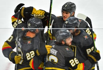 Jun 14, 2021; Las Vegas, Nevada, USA; Vegas Golden Knights center Mattias Janmark (26) celebrates with team mates after scoring a second period goal against the Montreal Canadiens in game one of the 2021 Stanley Cup Semifinals at T-Mobile Arena. Mandatory Credit: Stephen R. Sylvanie-USA TODAY Sports
