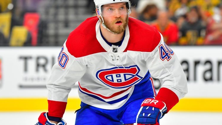 Jun 16, 2021; Las Vegas, Nevada, USA; Montreal Canadiens right wing Joel Armia (40) is pictured during the first period against the Vegas Golden Knights in game two of the 2021 Stanley Cup Semifinals at T-Mobile Arena. Mandatory Credit: Stephen R. Sylvanie-USA TODAY Sports