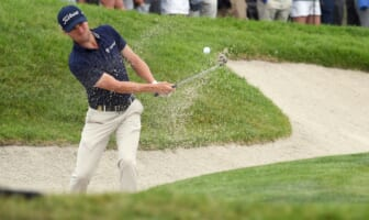Jun 18, 2021; San Diego, California, USA; Justin Thomas plays a shot from a bunker on the 18th hole during the second round of the U.S. Open golf tournament at Torrey Pines Golf Course. Mandatory Credit: Orlando Ramirez-USA TODAY Sports