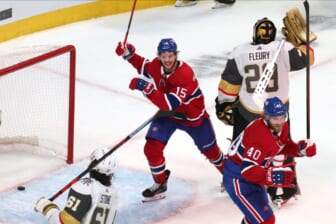 Jun 18, 2021; Montreal, Quebec, CAN; Montreal Canadiens center Jesperi Kotkaniemi (15) and right wing Joel Armia (40) celebrate a goal by right wing Josh Anderson (not pictured) against Vegas Golden Knights goaltender Marc-Andre Fleury (29) during the third period in game three of the 2021 Stanley Cup Semifinals at Bell Centre. Mandatory Credit: Jean-Yves Ahern-USA TODAY Sports