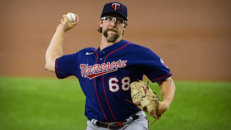 Jun 19, 2021; Arlington, Texas, USA; Minnesota Twins starting pitcher Randy Dobnak (68) pitches against the Texas Rangers during the first inning at Globe Life Field. Mandatory Credit: Jerome Miron-USA TODAY Sports