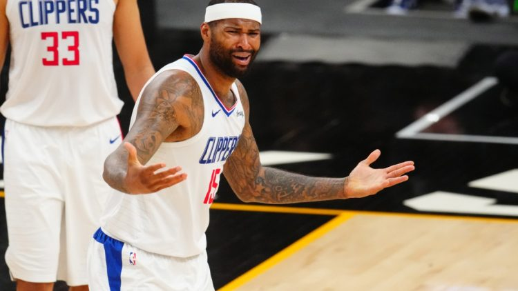 Jun 20, 2021; Phoenix, Arizona, USA; Los Angeles Clippers center DeMarcus Cousins (15) reacts against the Phoenix Suns in the second half during game one of the Western Conference Finals for the 2021 NBA Playoffs at Phoenix Suns Arena. Mandatory Credit: Mark J. Rebilas-USA TODAY Sports