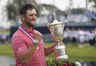 Jun 20, 2021; San Diego, California, USA; Jon Rahm celebrates with the trophy after winning he U.S. Open golf tournament at Torrey Pines Golf Course. Mandatory Credit: Michael Madrid-USA TODAY Sports