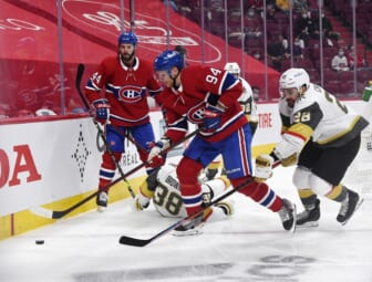 Jun 20, 2021; Montreal, Quebec, CAN; Montreal Canadiens forward Corey Perry (94) plays the puck and Vegas Golden Knights goalie Marc-Andre Fleury (29) forechecks during the first period in game four of the 2021 Stanley Cup Semifinals at the Bell Centre. Mandatory Credit: Eric Bolte-USA TODAY Sports