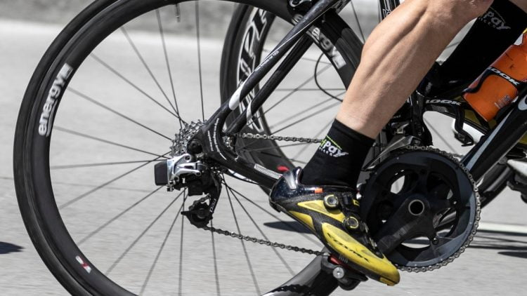 The muscles of a biker's leg powers the pedals during the Tour of America's Dairyland, Monday, June 21, 2021, in Manitowoc, Wis.  Man 062121 Tour Of Americas Dairyland Gck 009