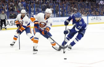 Jun 21, 2021; Tampa, Florida, USA;Tampa Bay Lightning defenseman Victor Hedman (77) and New York Islanders center Brock Nelson (29) skate after the puck during the first period in game five of the Stanley Cup Semifinals at Amalie Arena. Mandatory Credit: Kim Klement-USA TODAY Sports
