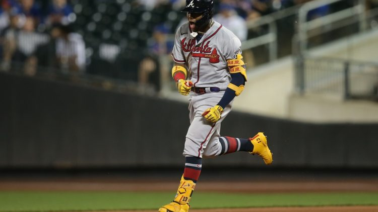 Jun 21, 2021; New York City, New York, USA; Atlanta Braves right fielder Ronald Acuna Jr. (13) reacts as he rounds the bases after hitting a solo home run against the New York Mets during the fifth inning at Citi Field. Mandatory Credit: Brad Penner-USA TODAY Sports