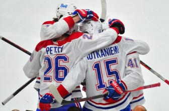 Jun 22, 2021; Las Vegas, Nevada, USA; Montreal Canadiens center Jesperi Kotkaniemi (15) celebrates with teammates after scoring a first period goal against the Vegas Golden Knights in game five of the 2021 Stanley Cup Semifinals at T-Mobile Arena. Mandatory Credit: Stephen R. Sylvanie-USA TODAY Sports