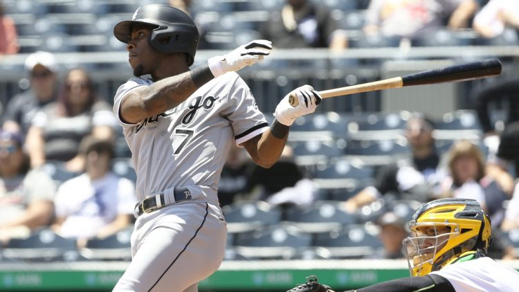 Jun 23, 2021; Pittsburgh, Pennsylvania, USA;  Chicago White Sox shortstop Tim Anderson (7) hits an RBI double against the Pittsburgh Pirates during the second inning at PNC Park. Mandatory Credit: Charles LeClaire-USA TODAY Sports