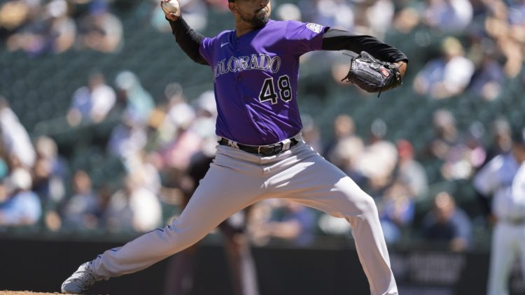 Jun 23, 2021; Seattle, Washington, USA;  Colorado Rockies starter German Marquez (48) delivers a pitch during the fourth inning of a game against the Seattle Mariners at T-Mobile Park. Mandatory Credit: Stephen Brashear-USA TODAY Sports