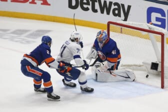 Jun 23, 2021; Uniondale, New York, USA; Tampa Bay Lightning center Anthony Cirelli (71) puts the puck past New York Islanders goaltender Semyon Varlamov (40) for a goal during the second period in game six of the 2021 Stanley Cup Semifinals at Nassau Veterans Memorial Coliseum. Mandatory Credit: Andy Marlin-USA TODAY Sports