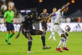 Jun 25, 2021; Fort Lauderdale, FL, USA; Orlando City SC forward Nani (17) protects the ball from Inter Miami CF midfielder Blaise Matuidi (8) during the first half at DRV PNK Stadium. Mandatory Credit: Sam Navarro-USA TODAY Sports