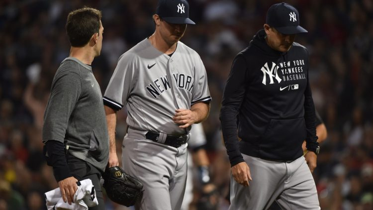 Jun 25, 2021; Boston, Massachusetts, USA;  New York Yankees relief pitcher Zack Britton (53) walks off the field after an apparent injury during the eighth inning against the Boston Red Sox at Fenway Park. Mandatory Credit: Bob DeChiara-USA TODAY Sports