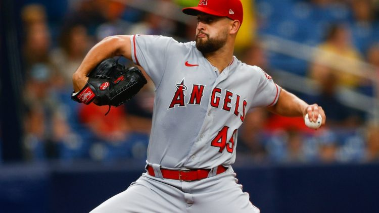 Jun 27, 2021; St. Petersburg, Florida, USA;  Los Angeles Angels starting pitcher Patrick Sandoval (43) throws a pitch in the first inning  against the Tampa Bay Rays at Tropicana Field. Mandatory Credit: Nathan Ray Seebeck-USA TODAY Sports