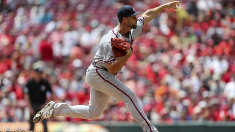 Jun 27, 2021; Cincinnati, Ohio, USA; Atlanta Braves starting pitcher Kyle Muller (66) throws a pitch against the Cincinnati Reds in the first inning at Great American Ball Park. Mandatory Credit: Katie Stratman-USA TODAY Sports