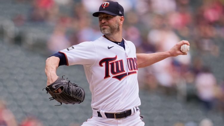 Jun 27, 2021; Minneapolis, Minnesota, USA; Minnesota Twins starting pitcher J.A. Happ (33) pitches against the Cleveland Indians in the first inning at Target Field. Mandatory Credit: Brad Rempel-USA TODAY Sports