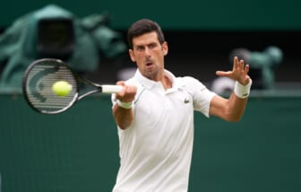 Jun 28, 2021; London, United Kingdom;  Novak Djokovic (SRB) seen playing against Jack Draper (GBR) on the centre court in the first round at All England Lawn Tennis and Croquet Club. Mandatory Credit: Peter van den Berg-USA TODAY Sports