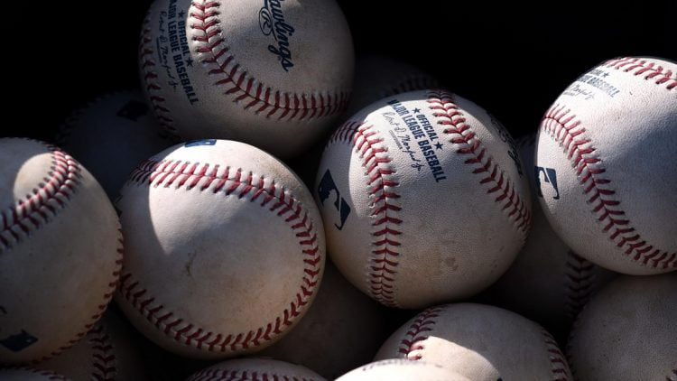 Feb 15, 2019; Clearwater, FL, USA; Baseballs sit in a basket before the start of the Philadelphia Phillies during spring training at Spectrum Field. Mandatory Credit: Jonathan Dyer-USA TODAY Sports