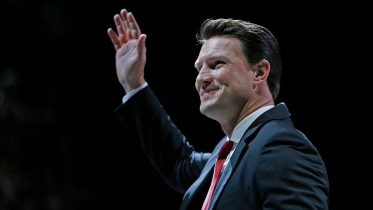 Shane Doan waves to fans as they clap after his jersey was raised during the jersey retirement ceremony at Gila River Arena in Glendale, Ariz. on February 24, 2019.   B1 9288