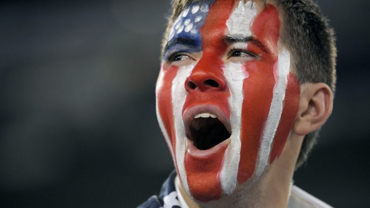 A U.S. fan reacts after the team's 3-1 victory over Jamaics during in their Concacaf Gold Cup Semifinal game at Nissan Stadium in Nashville, Tenn., Thursday, July 4, 2019.  Sem 1752