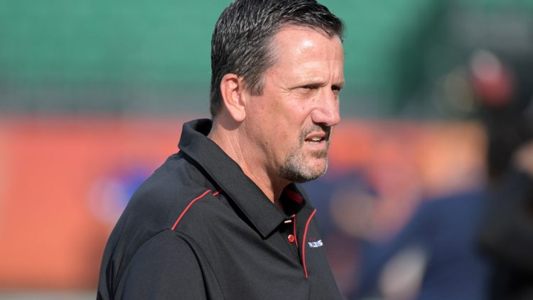 Aug 1, 2019; Canton, OH, USA; Atlanta Falcons quarterbacks coach Greg Knapp reacts during the Pro Football Hall of Fame Game against the Denver Broncos at Tom Benson Hall of Fame Stadium. Mandatory Credit: Kirby Lee-USA TODAY Sports