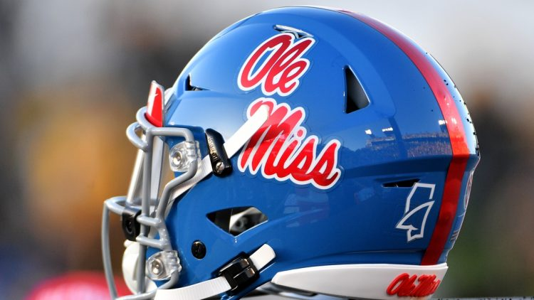 Oct 12, 2019; Columbia, MO, USA; A general view of a Mississippi Rebels helmet during the game against the Missouri Tigers at Memorial Stadium/Faurot Field. Mandatory Credit: Denny Medley-USA TODAY Sports