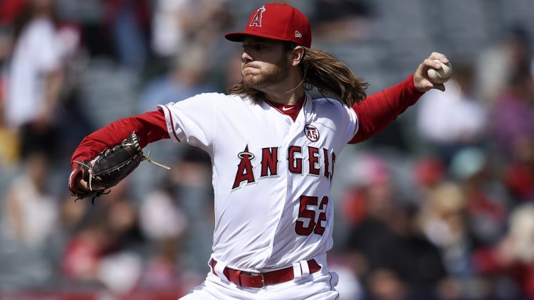 Sep 29, 2019; Anaheim, CA, USA; Los Angeles Angels pitcher Dillon Peters pitches during the first inning against the Houston Astros at Angel Stadium of Anaheim. Mandatory Credit: Kelvin Kuo-USA TODAY Sports