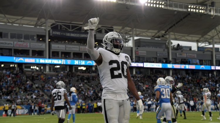 Dec 22, 2019; Carson, California, USA; Oakland Raiders cornerback Daryl Worley (20) celebrates in the fourth quarter against the Los Angeles Chargers at Dignity Health Sports Park. The Raiders defeated teh Chargers 24-17. Mandatory Credit: Kirby Lee-USA TODAY Sports
