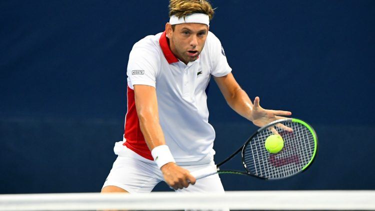 Aug 31, 2020; Flushing Meadows, New York, USA; Filip Krajinovic (SRB) hits the ball against Mikael Ymer (SWE) on day one of the 2020 U.S. Open tennis tournament at USTA Billie Jean King National Tennis Center. Mandatory Credit: Robert Deutsch-USA TODAY Sports