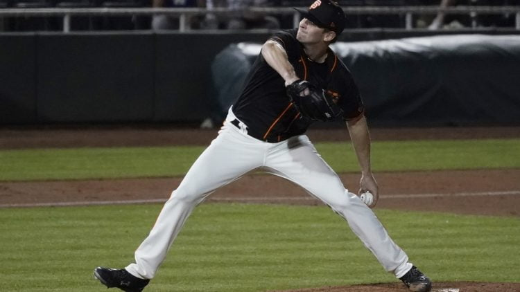 Mar 2, 2021; Scottsdale, Arizona, USA; San Francisco Giants relief pitcher Sam Selman (67) throws against the Los Angeles Dodgers in the fifth inning during a spring training game at Scottsdale Stadium. Mandatory Credit: Rick Scuteri-USA TODAY Sports