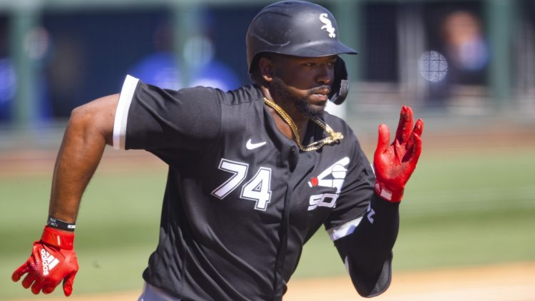 Mar 8, 2021; Glendale, Arizona, USA; Chicago White Sox outfielder Eloy Jimenez against the Los Angeles Dodgers during a Spring Training game at Camelback Ranch Glendale. Mandatory Credit: Mark J. Rebilas-USA TODAY Sports