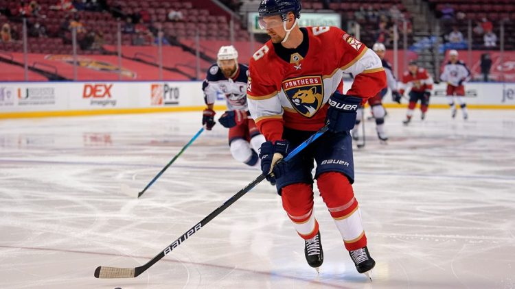 Apr 4, 2021; Sunrise, Florida, USA; Florida Panthers defenseman Anton Stralman (6) controls the puck against the Columbus Blue Jackets during the first period at BB&T Center. Mandatory Credit: Jasen Vinlove-USA TODAY Sports