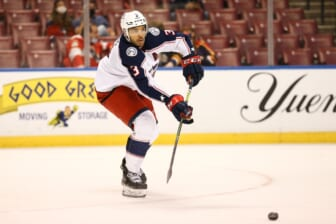 Apr 20, 2021; Sunrise, Florida, USA; Columbus Blue Jackets defenseman Seth Jones (3) passes the puck against the Florida Panthers during the second period at BB&T Center. Mandatory Credit: Sam Navarro-USA TODAY Sports