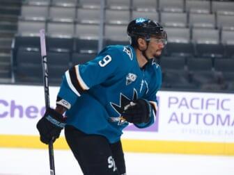 May 3, 2021; San Jose, California, USA; San Jose Sharks left wing Evander Kane (9) after scoring a goal against the Colorado Avalanche during the first period at SAP Center at San Jose. Mandatory Credit: Kelley L Cox-USA TODAY Sports