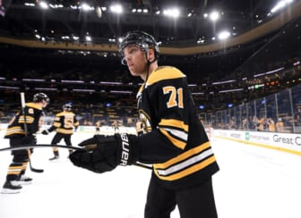 May 21, 2021; Boston, Massachusetts, USA; Boston Bruins left wing Taylor Hall (71) skates during warmups prior to game four of the first round of the 2021 Stanley Cup Playoffs against the Washington Capitals at TD Garden. Mandatory Credit: Bob DeChiara-USA TODAY Sports