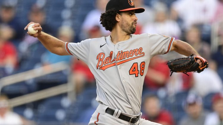 May 21, 2021; Washington, District of Columbia, USA;  Baltimore Orioles pitcher Jorge Lopez (48) delivers pitch during the second inning against the Washington Nationals at Nationals Park. Mandatory Credit: Tommy Gilligan-USA TODAY Sports