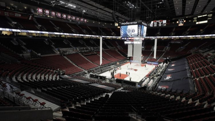 May 27, 2021; Portland, Oregon, USA; A general view inside the Moda Center before game three in the first round of the 2021 NBA Playoffs. Mandatory Credit: Soobum Im-USA TODAY Sports