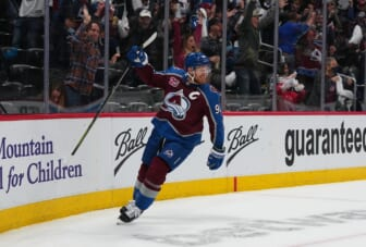 May 30, 2021; Denver, Colorado, USA; Colorado Avalanche left wing Gabriel Landeskog (92) celebrates his goal in the first period against the Vegas Golden Knights of game one in the second round of the 2021 Stanley Cup Playoffs at Ball Arena. Mandatory Credit: Ron Chenoy-USA TODAY Sports