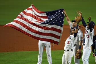 USA players celebrate after defeating Venezuela in the Super Round of the WBSC Baseball Americas Qualifier series game at Clover Park and qualifying for the Olympic Games in Tokyo Japan. Mandatory Credit: Jasen Vinlove-USA TODAY Sports