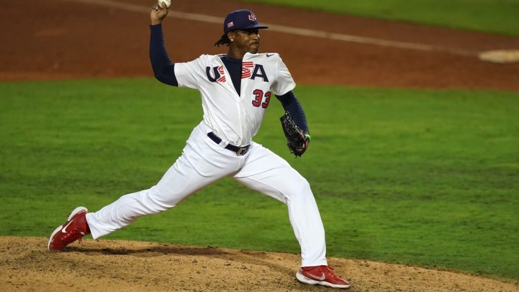 Jun 5, 2021; Port St. Lucie, Florida, USA; USA relief pitcher Edwin Jackson (33) delivers a pitch in the 8th inning against Venezuela in the Super Round of the WBSC Baseball Americas Qualifier series at Clover Park. Mandatory Credit: Jasen Vinlove-USA TODAY Sports