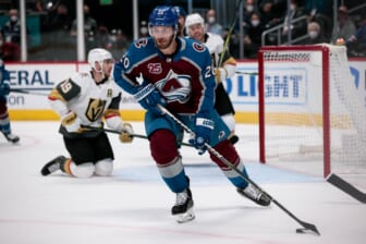 Jun 8, 2021; Denver, Colorado, USA; Colorado Avalanche left wing Brandon Saad (20) controls the puck in the first period against the Vegas Golden Knights in game five of the second round of the 2021 Stanley Cup Playoffs at Ball Arena. Mandatory Credit: Isaiah J. Downing-USA TODAY Sports